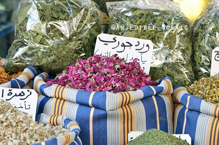 Dried Rose Flowers and Herbs at Middle Eastern Spice Market in Syria