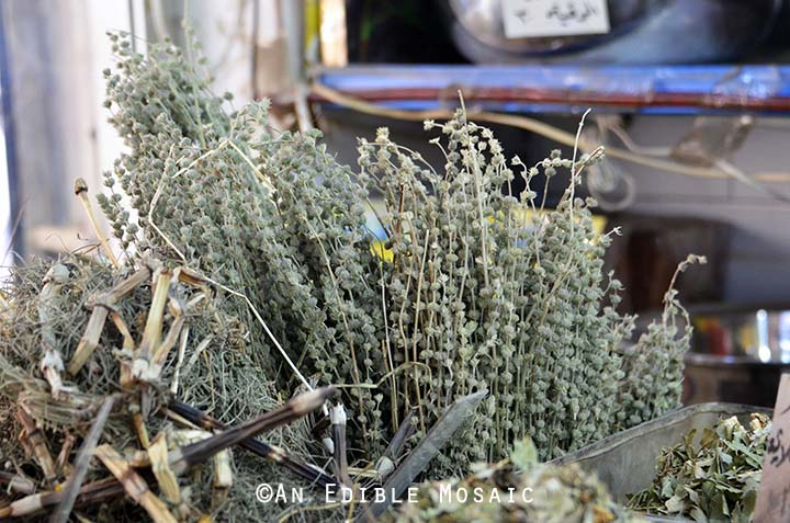 Dried Herbs at Middle Eastern Spice Market in Syria