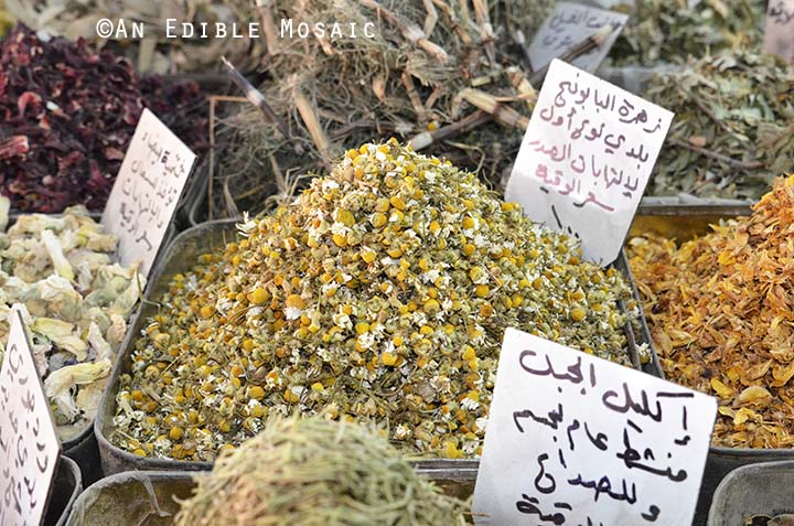 Dried Chamomile at Middle Eastern Spice Market in Syria