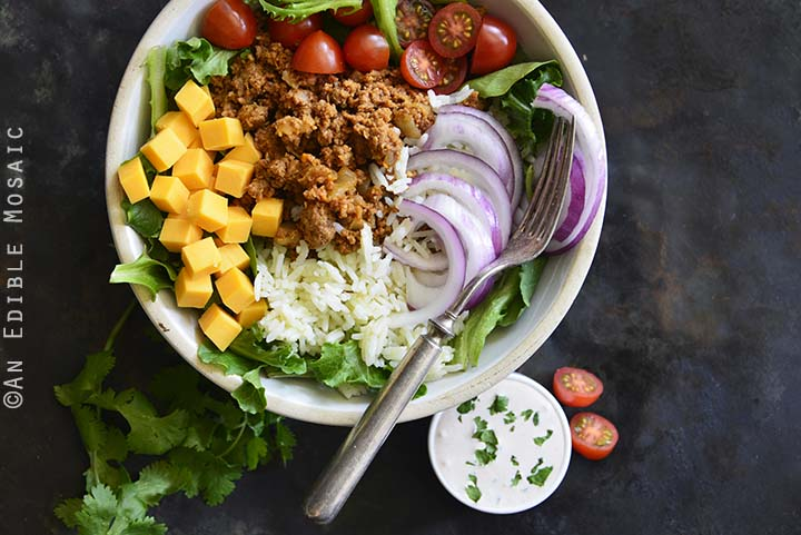 Close Up of Turkey Taco Rice Salad Bowls with Creamy Tex-Mex Dressing