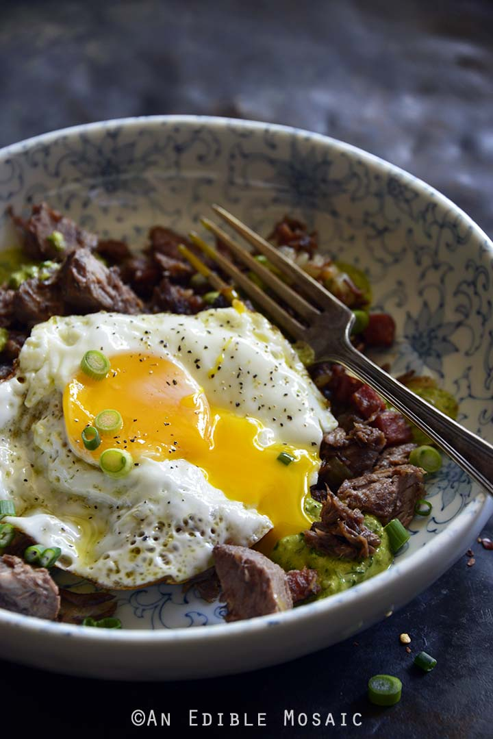 Leftover Pot Roast Hash with Chimichurri-Inspired Sauce Topped with a Fried Egg