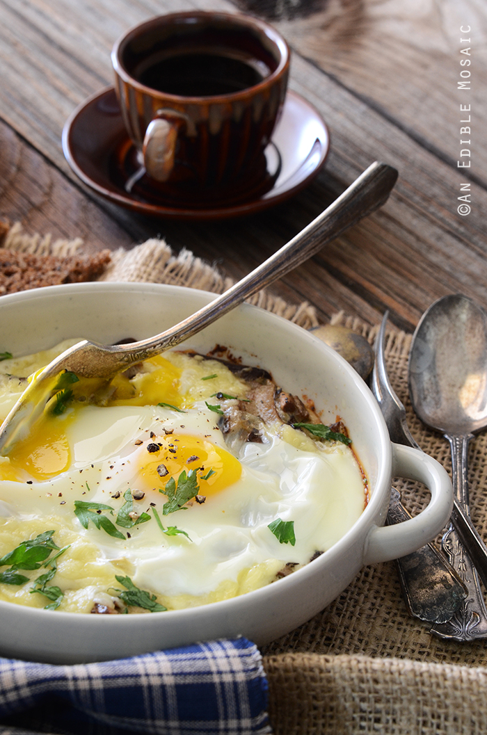 Cheesy Mushroom Baked Eggs for Two