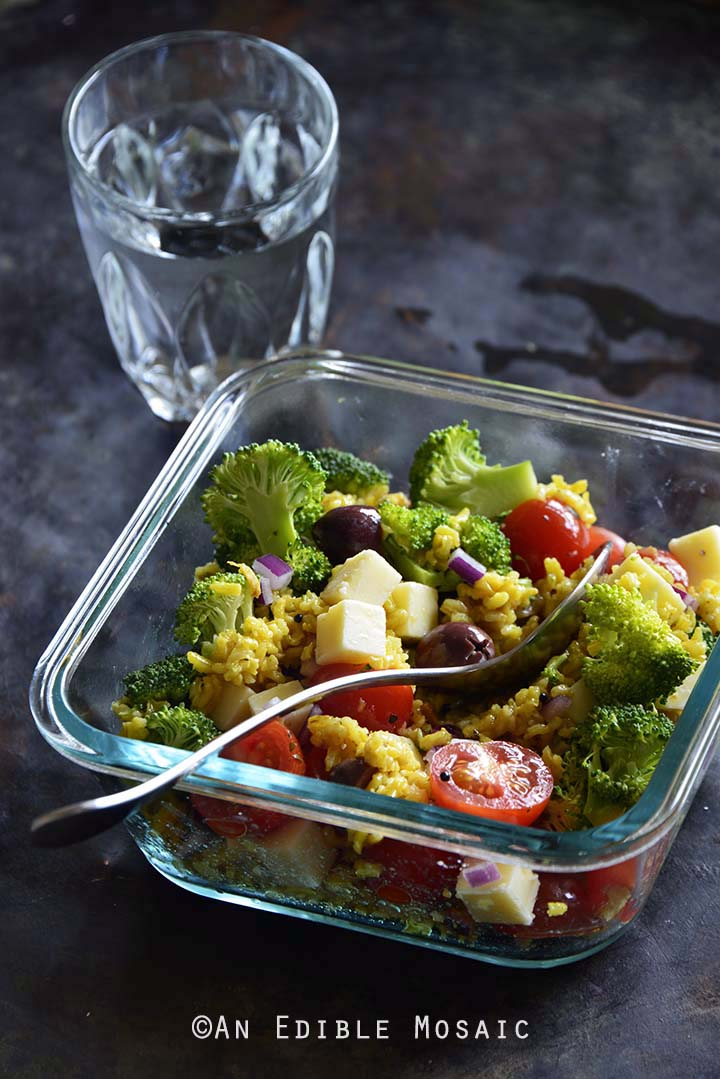 Cold Italian-Inspired Broccoli and Rice Salad Front View