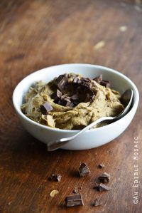 Paleo AIP Banana Flour Chocolate Chip Edible Cookie Dough on Wooden Table