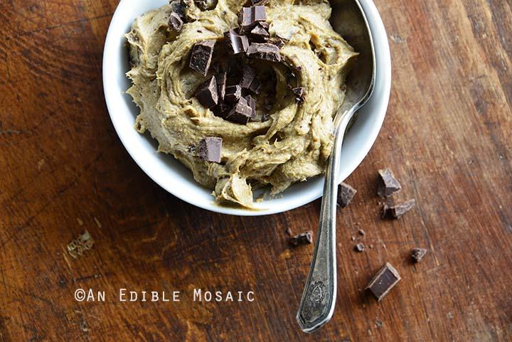 Close Up of Paleo AIP Banana Flour Chocolate Chip Edible Cookie Dough