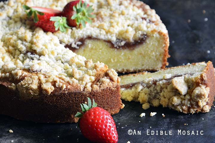 Close Up of Strawberry Streusel Sour Cream Coffee Cake