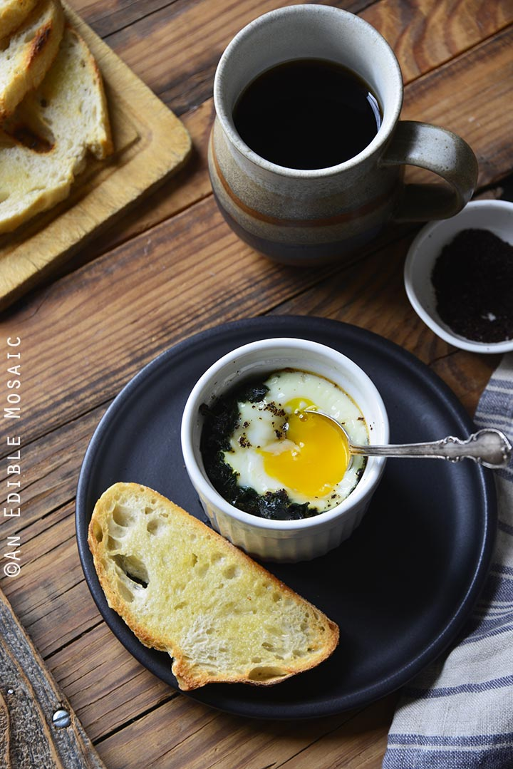 Sumac-Spiced Baked Eggs with Kale {Paleo}