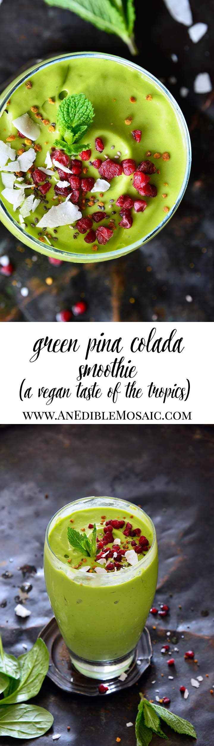 Vegan Green Pina Colada Smoothie Long Pin