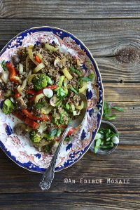 Top View of 30-Minute Low-Carb Sesame Vegetable Beef Stir Fry