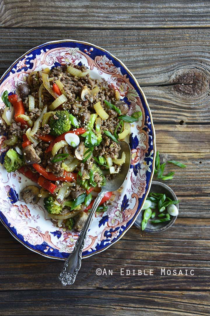 Top View of 30-Minute Low-Carb Sesame Vegetable Beef Stir Fry