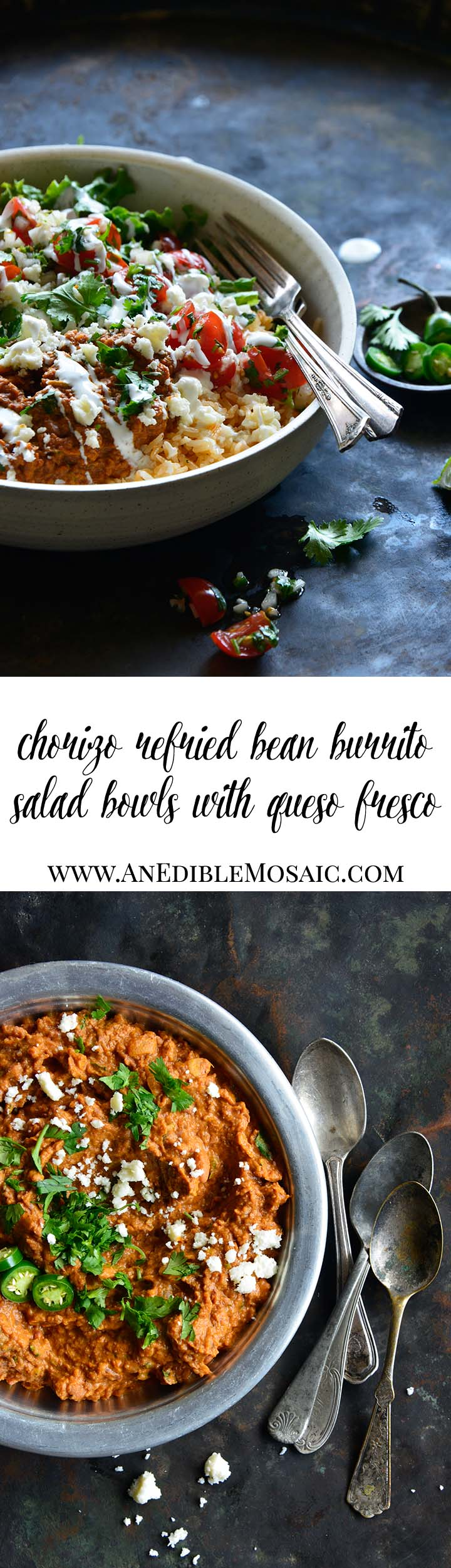 Chorizo Refried Bean Burrito Salad Bowls with Queso Fresco Long Pin