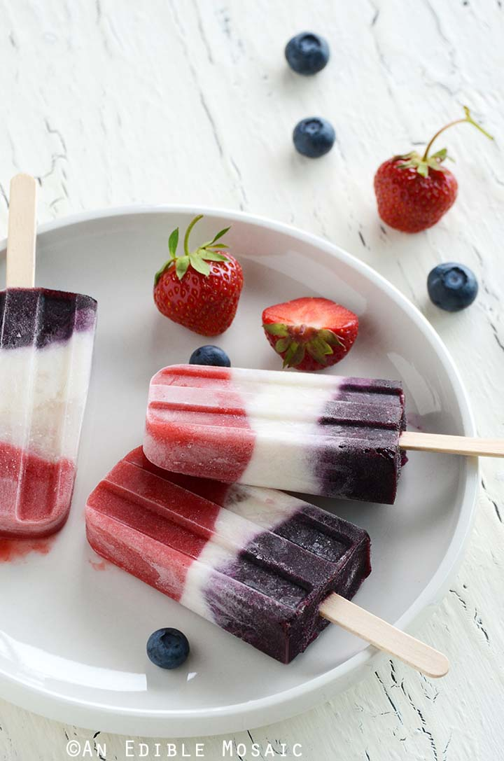 Red, White, and Blue Double Berry Coconut Pops