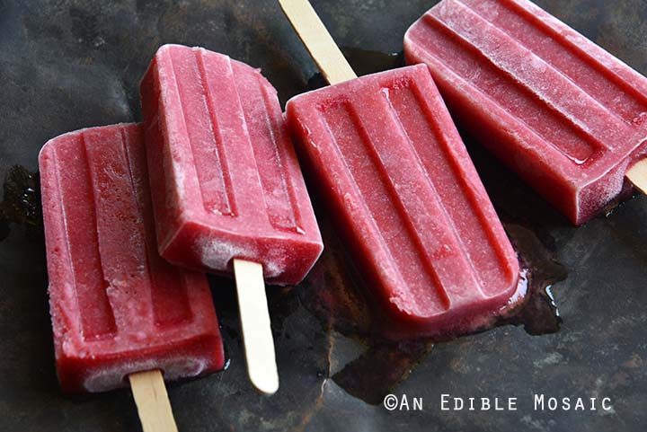 Melting Roasted Plum Rosé Popsicles with Cardamom