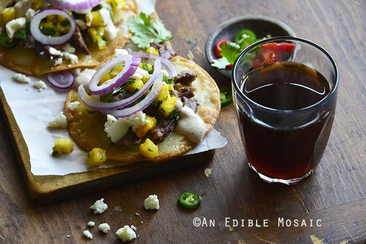 Short Rib Tostadas with Pineapple Salsa and Cotija with Dark Beer