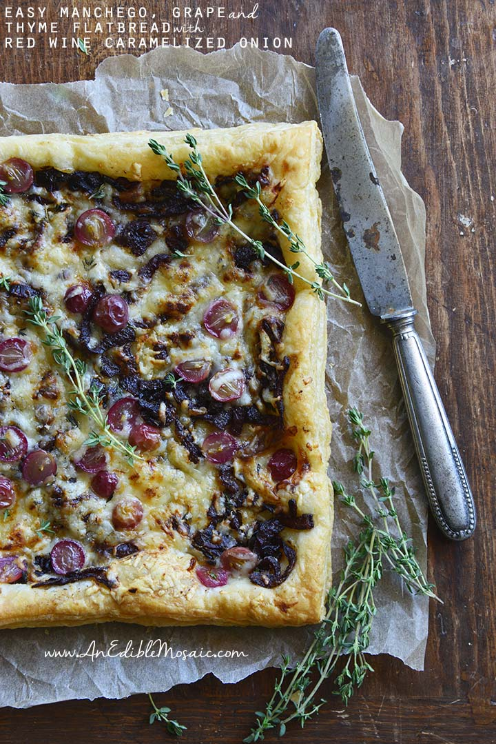 Easy Manchego, Grape, and Thyme Flatbread with Red Wine Caramelized Onions with Description
