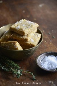 Swiss Cheese and Thyme Homemade Gluten Free Crackers Front View