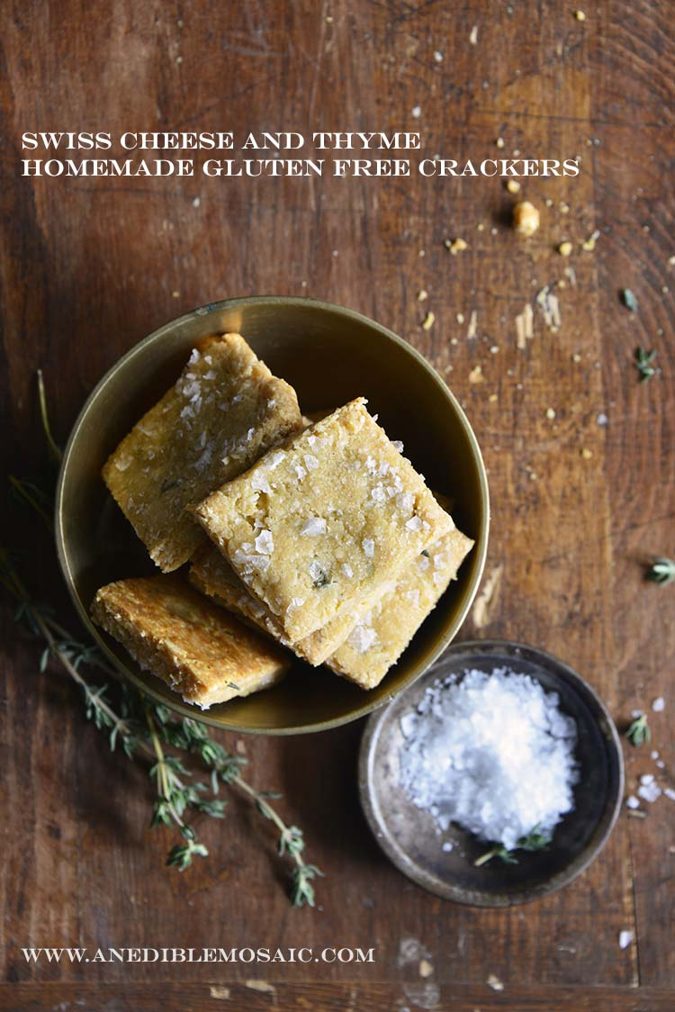 Swiss Cheese and Thyme Homemade Gluten Free Crackers with Description