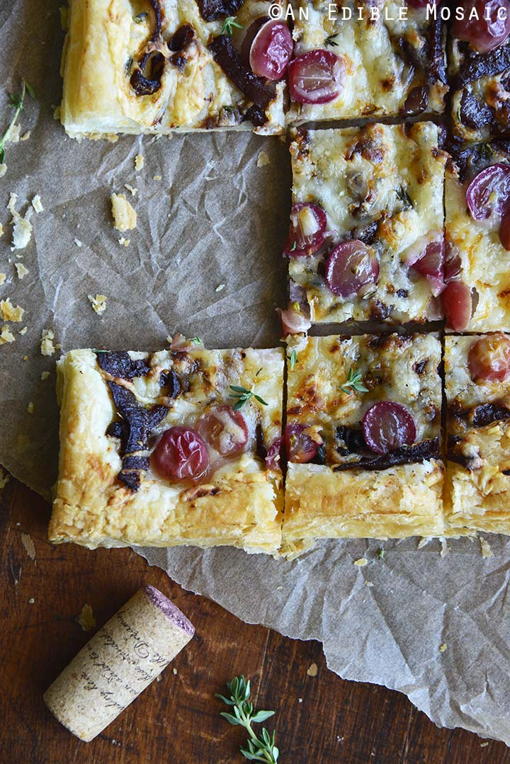 Top View of Puff Pastry Flatbread with Caramelized Onion