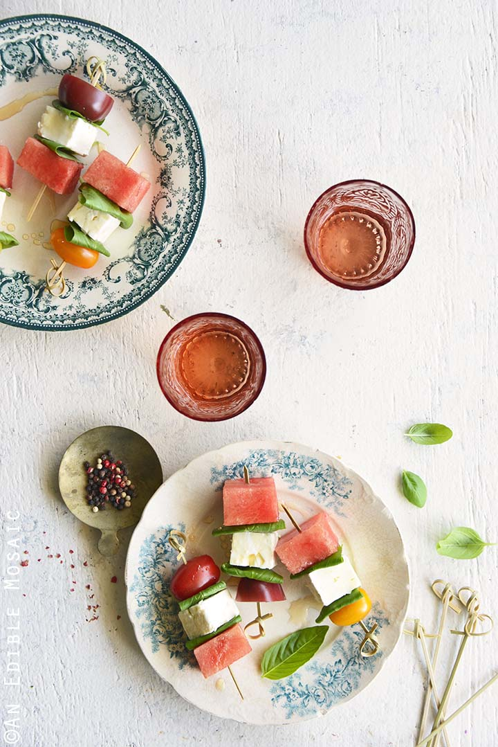 Top View of Watermelon Salad Skewers with Tomato, Basil, and Feta