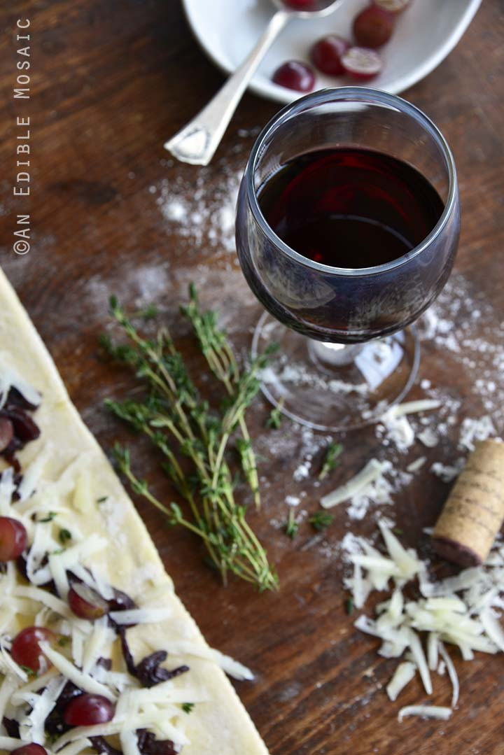 Wine and Baking on Wooden Table