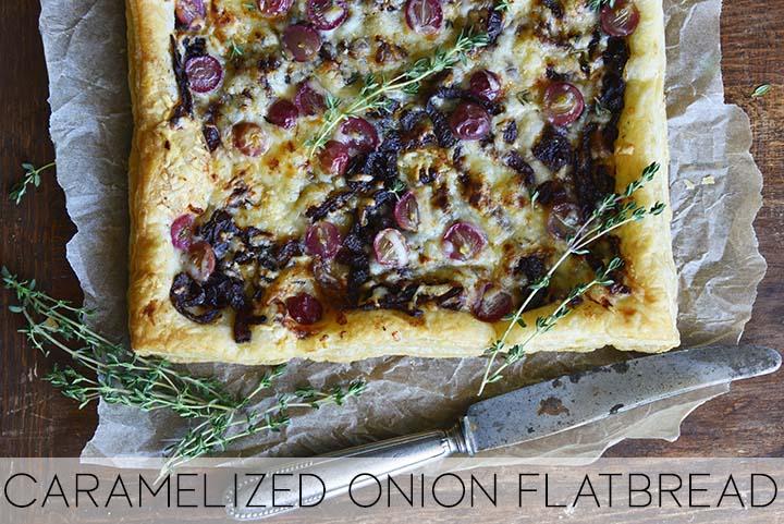 caramelized onion flatbread with description