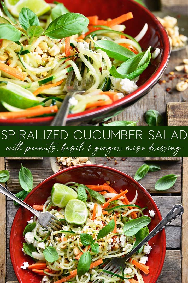 spiralized cucumber salad recipe pin