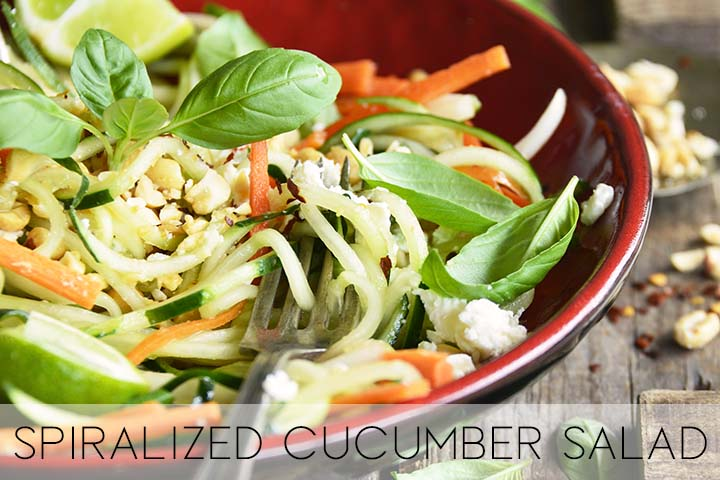 spiralized cucumber salad with description