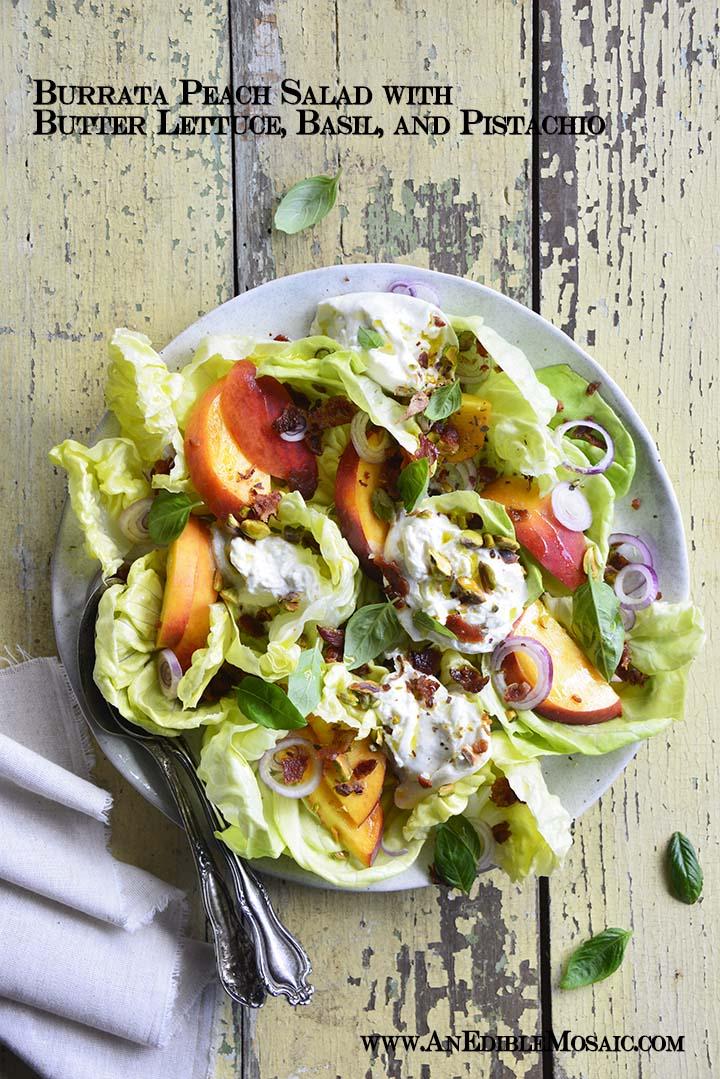 Burrata Peach Salad with Butter Lettuce, Basil, and Pistachio with Description