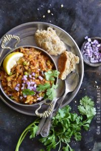Overhead View of Instant Pot Cauliflower Pav Bhaji (Low Carb Indian Food)