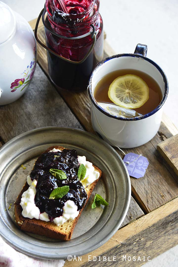 Tea and Fancy Toast with Small Batch Easy Blueberry Jam with Ginger and Lemon