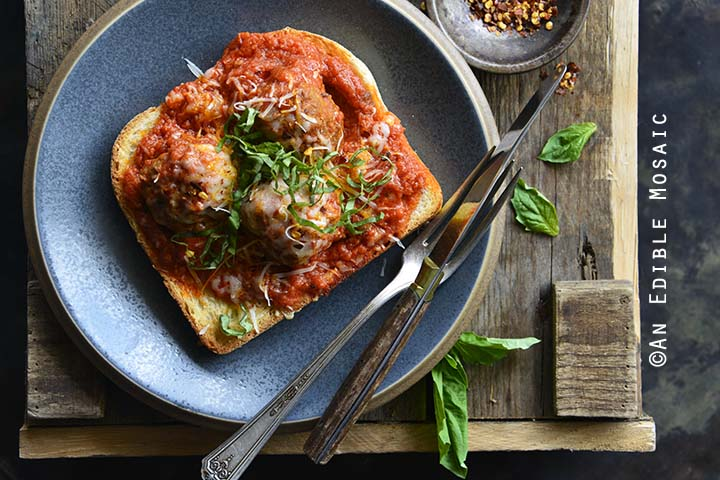Easy Meatball Bomber Recipe on Blue Stoneware Plate
