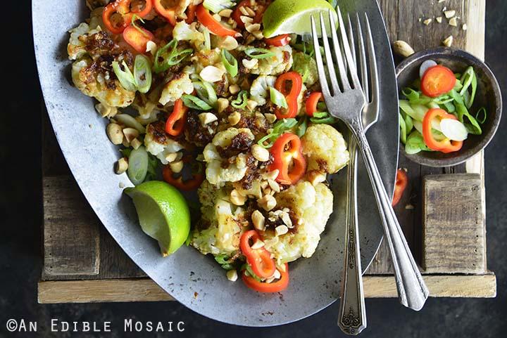 Gluten Free Pad Thai Cauliflower Side Dish on Wooden Background