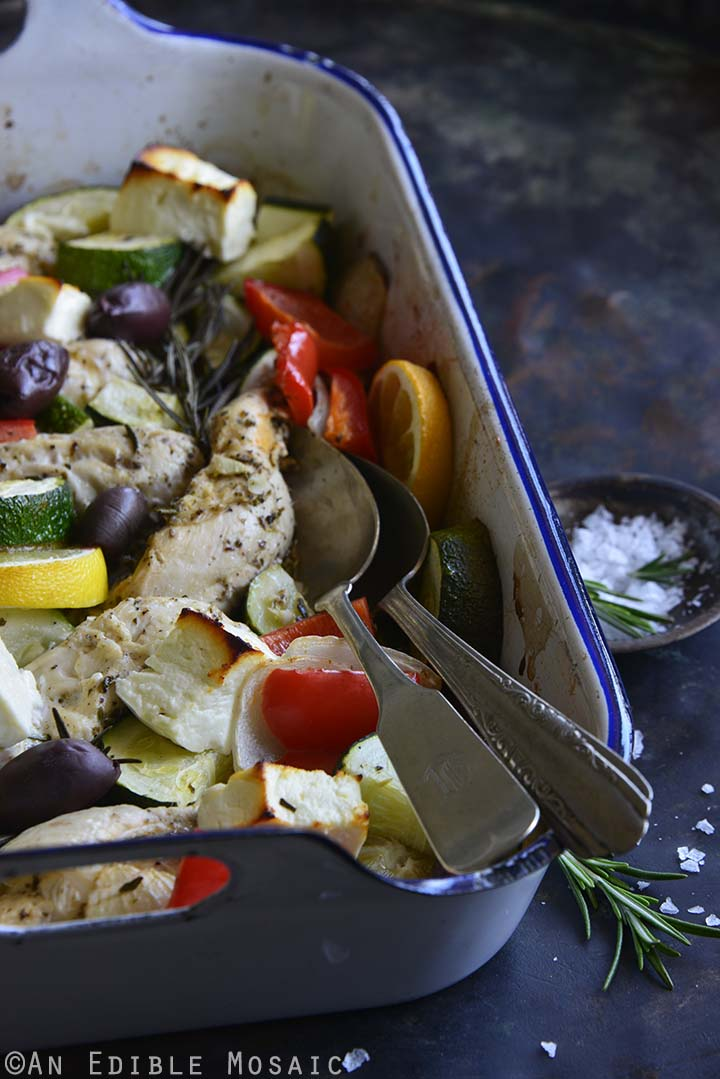 Low Carb One Pan Greek Baked Chicken Dinner with Tzatziki Sauce Front View