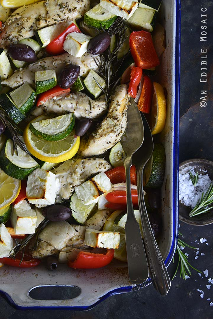 Overhead View of Low Carb One Pan Greek Baked Chicken Dinner with Tzatziki Sauce Close Up
