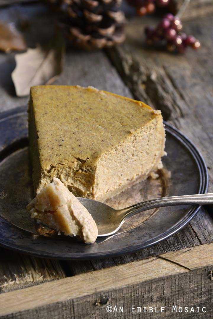 Slice of Low Carb Pumpkin Spice Cheesecake Recipe with Bite