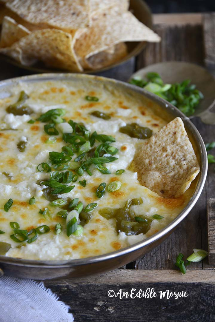 Front View of Easy Low Carb Chile Relleno Dip (15 Minute Dip Recipe) in Skillet