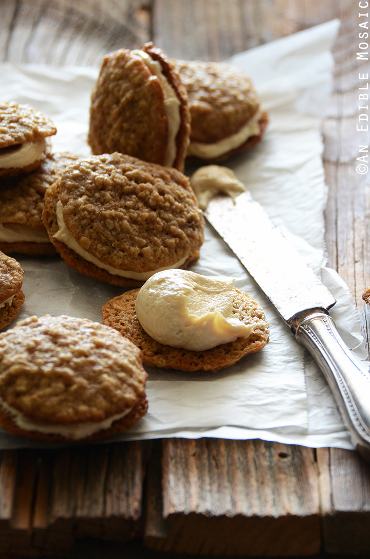 Oatmeal Cream Pies with Rum-Raisin Brown Sugar Buttercream Frosting