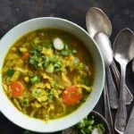AIP Paleo Bone Broth Cabbage Detox Soup with Vintage Spoons