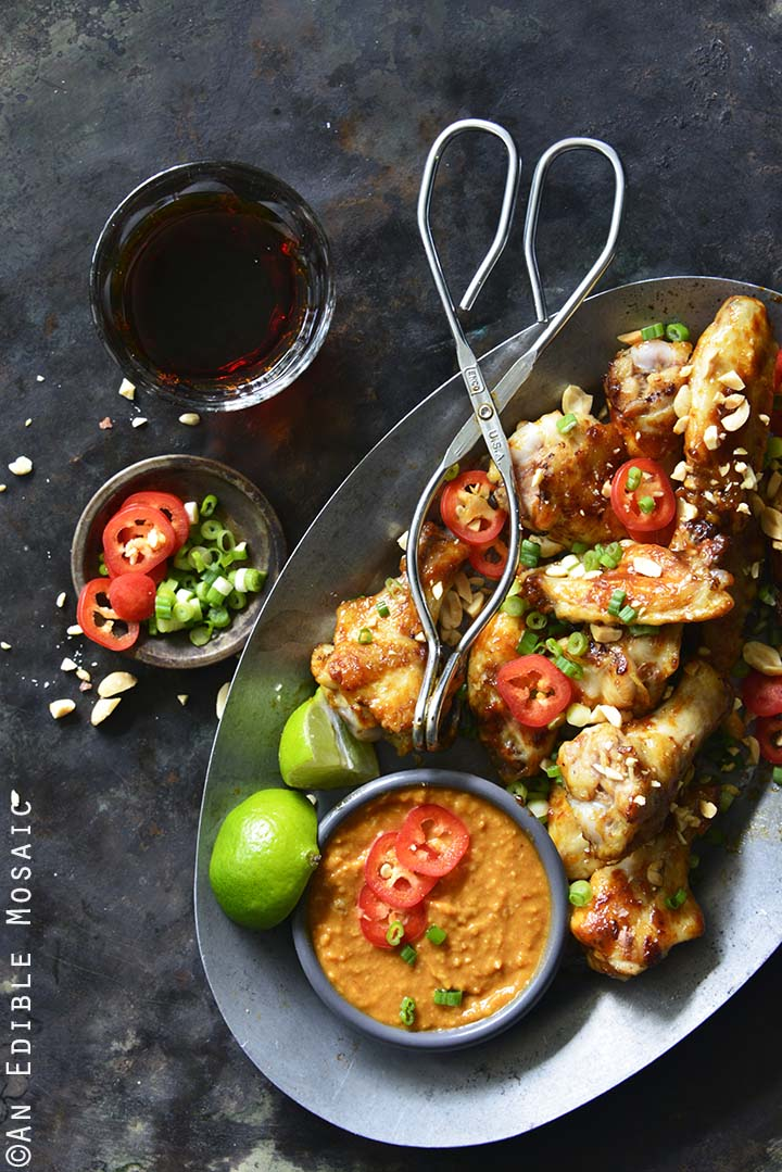 Chili-Garlic Glazed Wings with Peanutty Satay Dipping Sauce