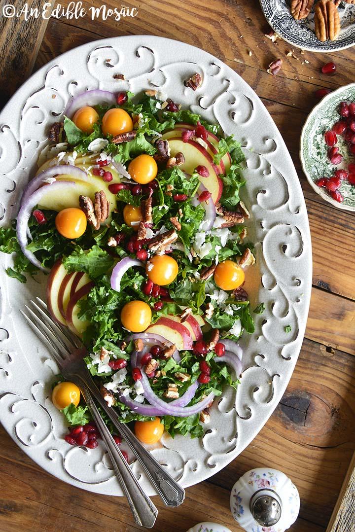 Overhead View of Festive Christmas Salad