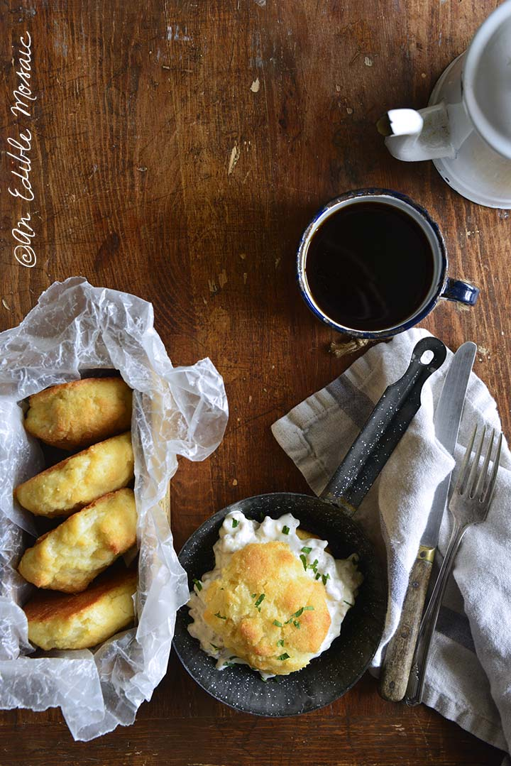 Low Carb Biscuits and Sausage Gravy with Coffee on Wooden Table
