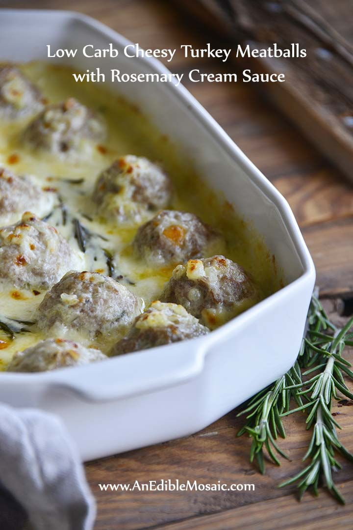 Low Carb Cheesy Turkey Meatballs with Rosemary Cream Sauce with Description