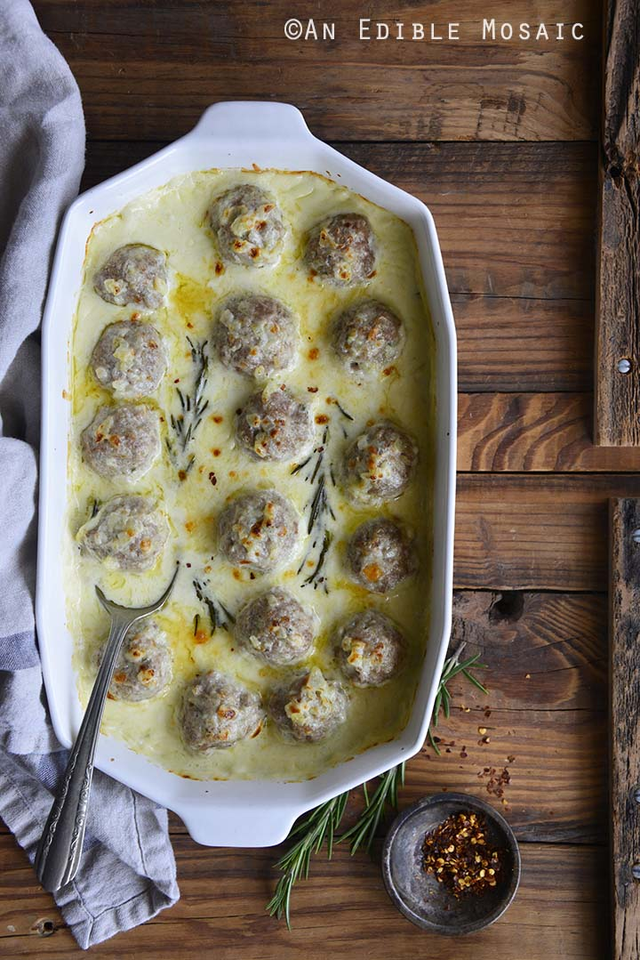 Low Carb Cheesy Turkey Meatballs with Rosemary Cream Sauce