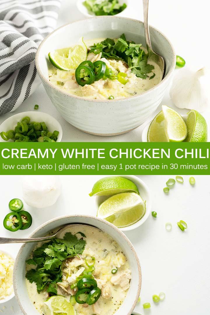 Creamy White Chicken Chili Recipe Pin