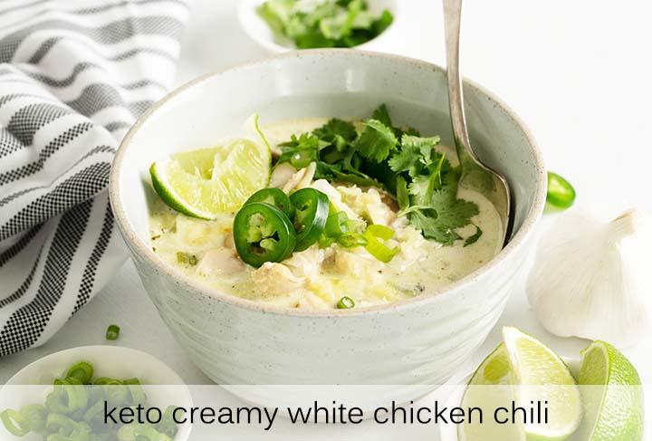 Keto Creamy White Chicken Chili with Description