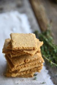 Low Carb Butter Crackers Recipe Front View with Crackers Stacked