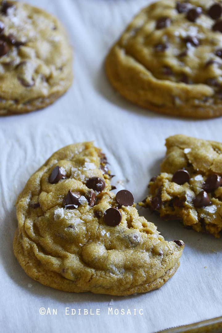 Hot and Gooey Small Batch Bakery Style Chocolate Chip Cookies Out of Oven