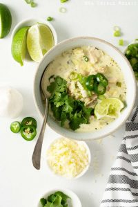 White Chicken Chili with Various Toppings