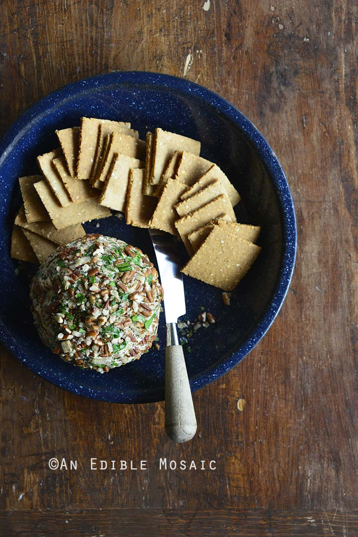 Easy Ranch Cheese Ball Recipe on Blue Serving Dish on Wooden Table