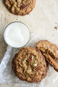 Overhead View of Chewy Cinnamon Pecan Brown Butter Oatmeal Cookies with Glass of Milk